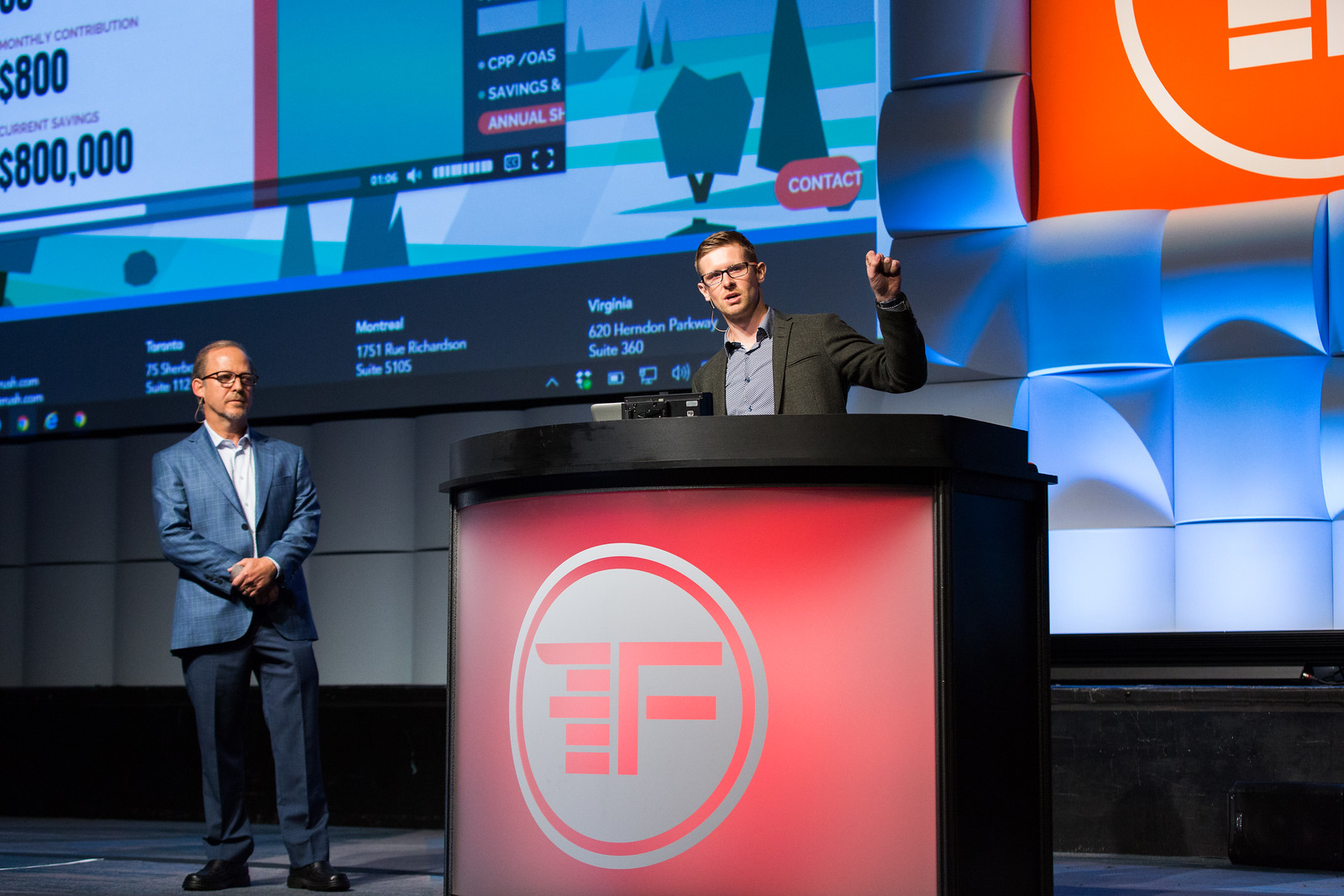 BLUERUSH present AI enabled virtual assistant at Finovate 2017.